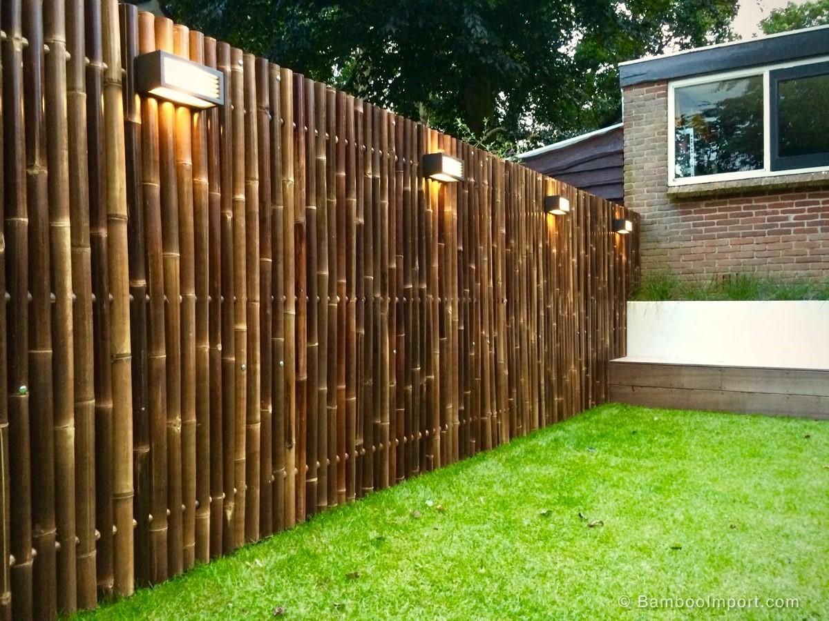 Rolled bamboo fencing garden
