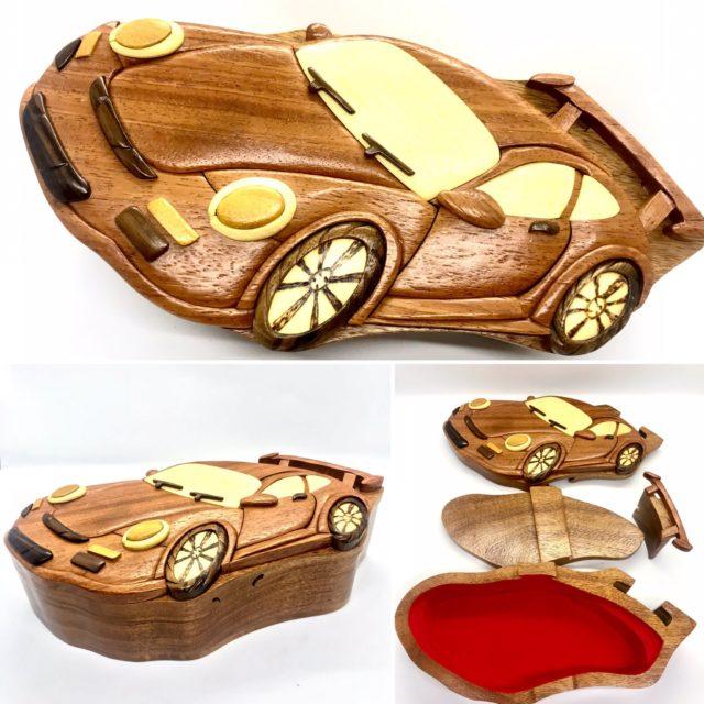 wooden puzzle box car