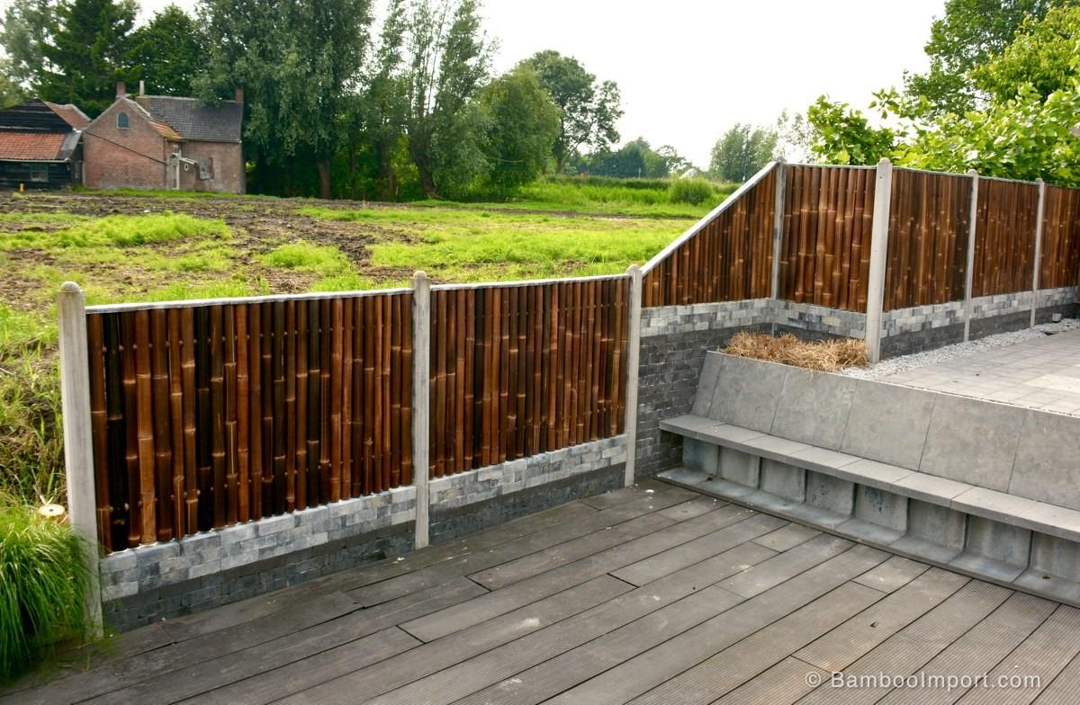 Black bamboo fence panels Safimex garden