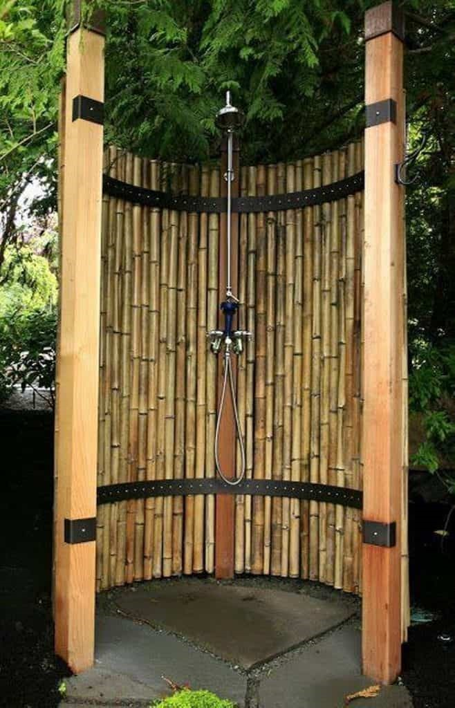 10. Shower outdoors in the safety of a bamboo curtain