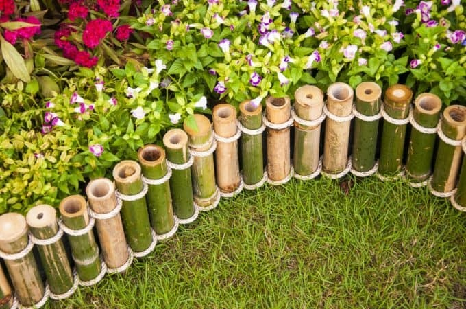 15. Edge your garden with bamboo bits