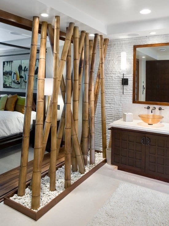 5. Separate various spaces using bamboo dividers
