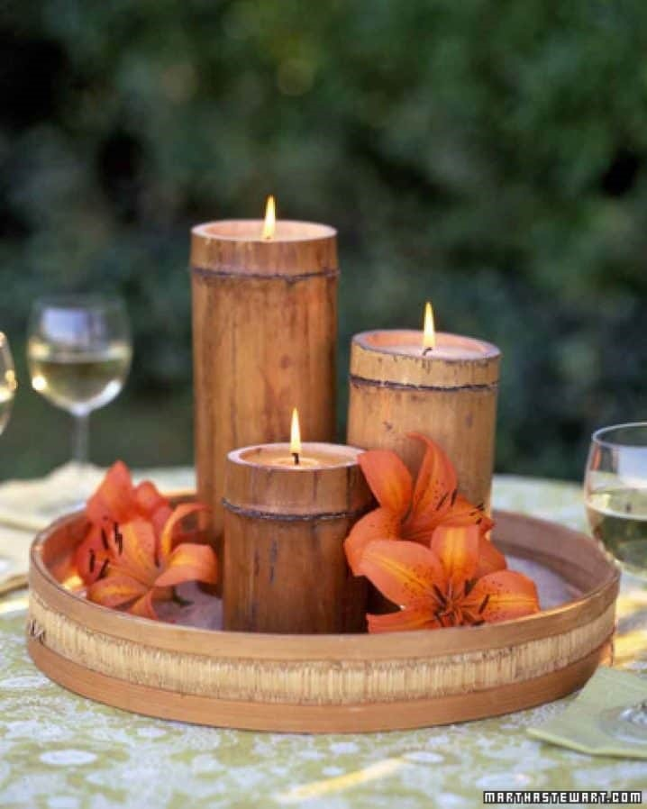 8. Nestle wax in BAMBOO and create scented candles